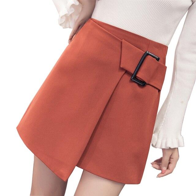 Korean Elegant Slim Women Skirt 2017 Summer Autumn Irregular Lace Up Skirts Saia Midi High Quality