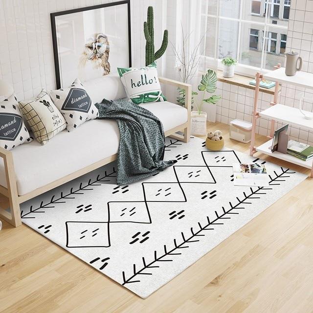 Morocco Style Beige White Geometric Pattern Living Room Rug Past Home Decoration Bedroom Carpet Nordic Floor Mat