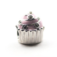 Pandulaso Sweet Silver Cupcake Beads For Jewelry Making Fit Bracelets Bangles DIY Woman Charms Sterling Silver