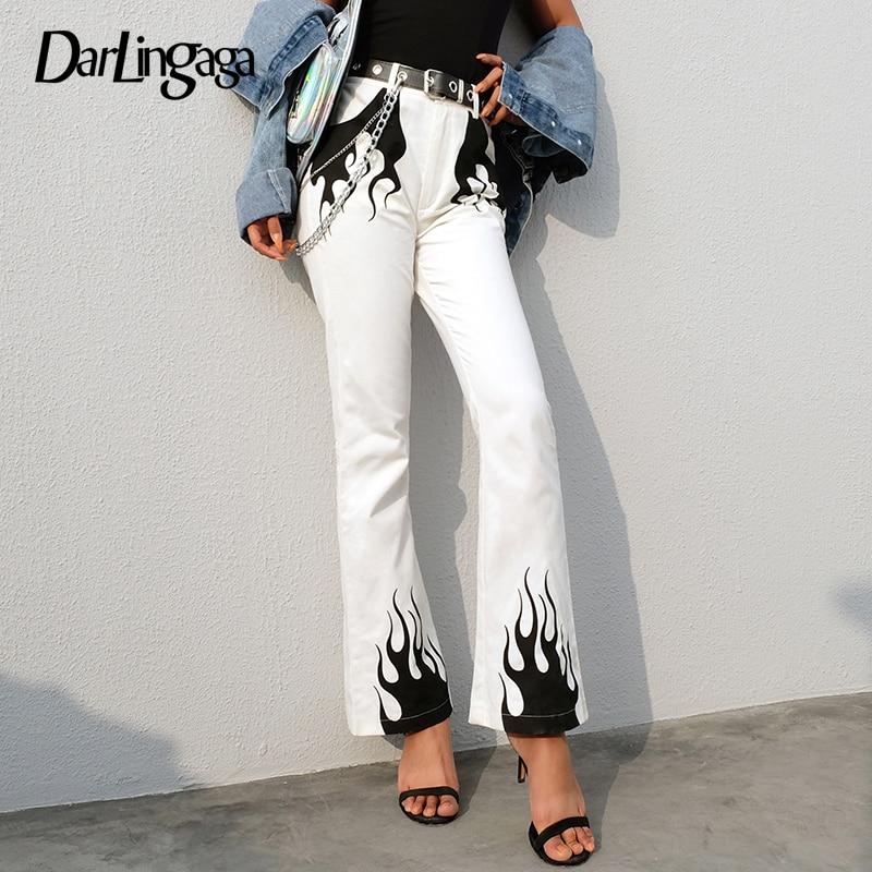 Darlingaga Cotton Vintage Fashion White Wide Leg Pants Flame Print Trousers Pockets High Waist Pants Spring 2019 Bottom Pantalon