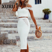 XURU summer new womens lace stitching dress two-piece sexy bag hip white elastic waist