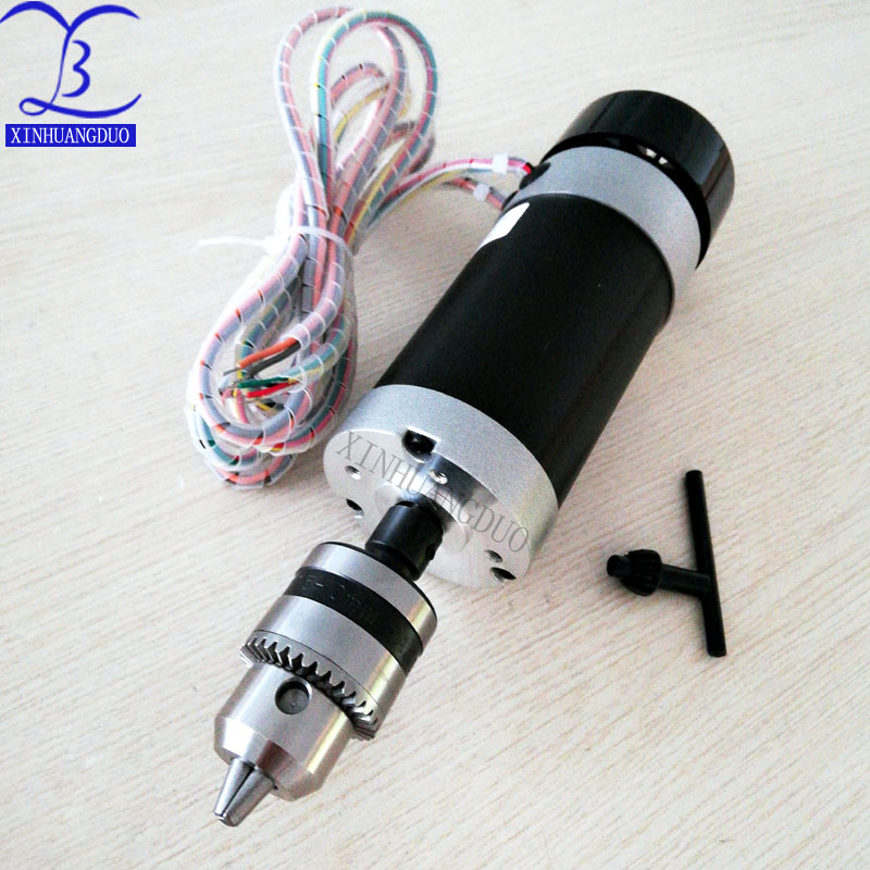 500W Brushless Motor Drill chuck 48VDC CNC Engraving Milling Air Cooled Spindle fan Long mouth tightening