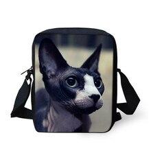 THIKIN Милая кошка Сфинкс печать сумка мессенджер для детей маленьких девочек женская сумка на плечо Маленькие женские сумки на заказ Bolsa