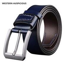 Auspicioso occidental cinturón de cuero de vaca para hombre, cinturón masculino con hebilla de aleación, cinturones de diseño para hombre, color café, azul, negro y marrón