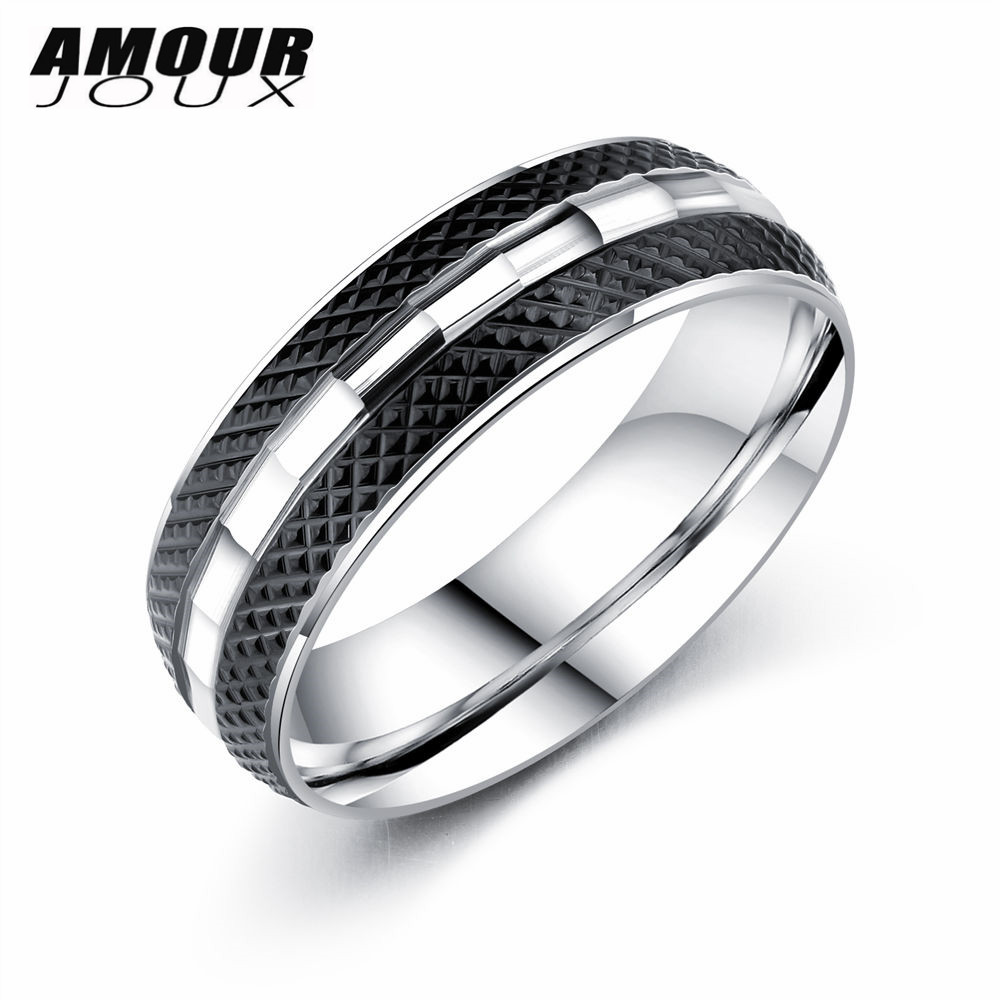 Amourjoux Stripe Black Tough Guy 316l Stainless Steel Wedding Rings For Men  Fashion Silver Color Male Party Ring