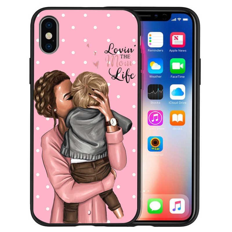 スーパーマママウスお父さん女の子ママ少年赤ちゃんケースカバー iphone 8 7 X XS 最大 XR 6 7 8 プラス 5 S 、 SE ソフトケースカバー小箱