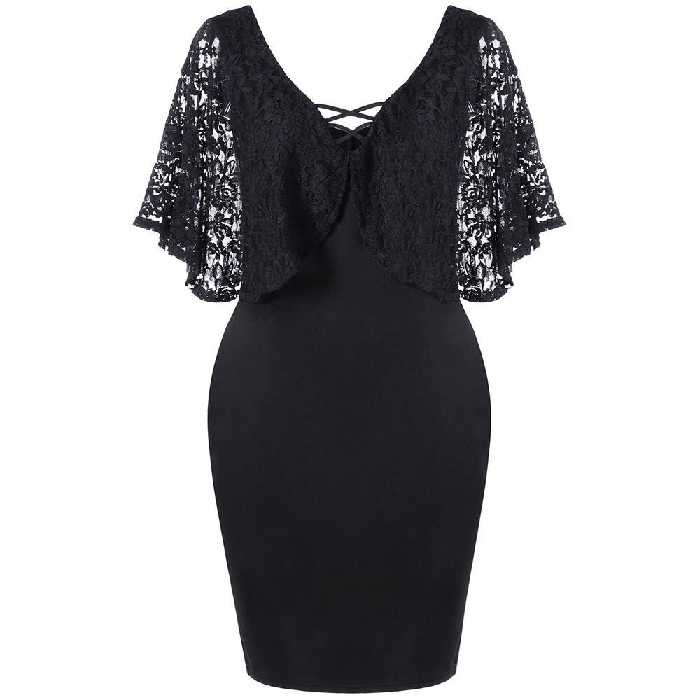 CharMma Plus Size 2017 Women Lace Sleeve Knee Length Bodycon Slim Summer Dress Clothing Batwing Sleeve