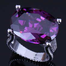 Fancy Huge Oval Egg Purple Cubic Zirconia 925 Sterling Silver Ring For Women V0575
