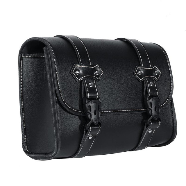 Ironwalls Motorcycle Saddlebag Pu Leather Tool Bag Storage Pouch Buckle Adjule Mounting Strap For Harley Sportster