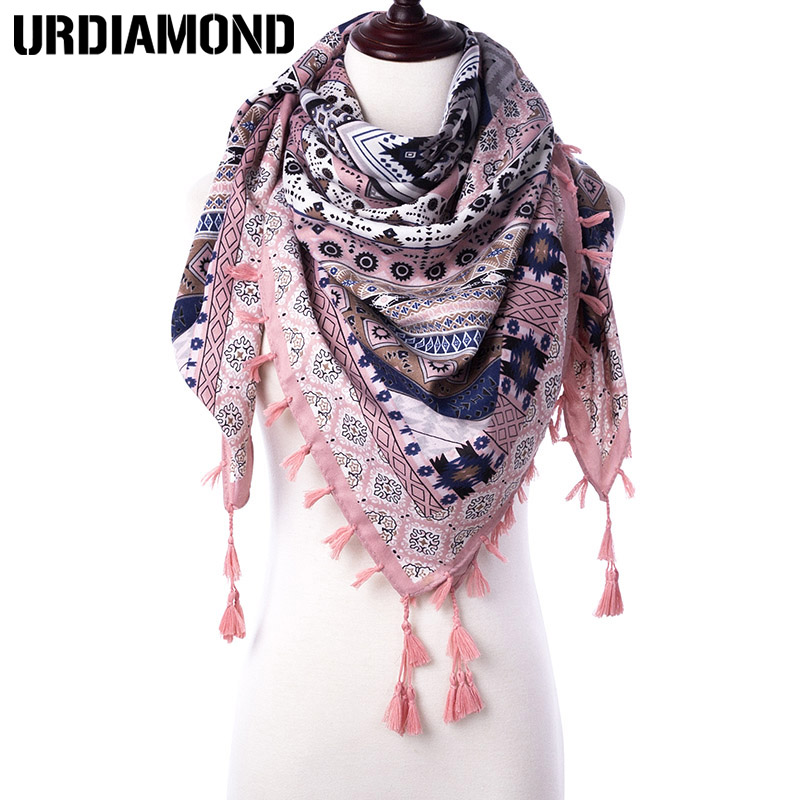 URDIAMOND Winter Scarf Shawls Tassel-Printed Women Wraps Bohimian-Style Autumn Ladies