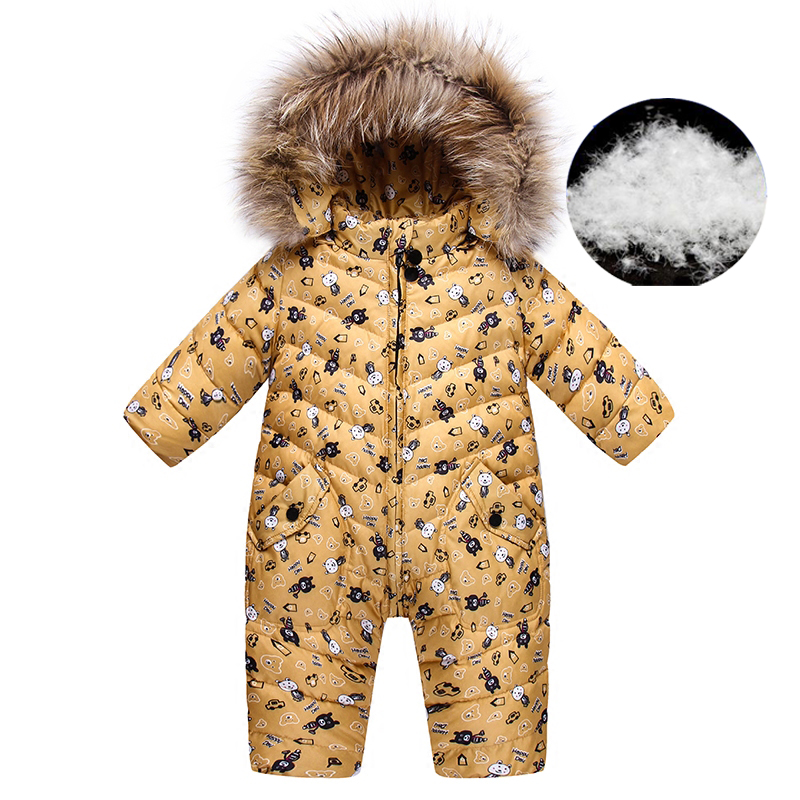 Winter 90% Duck Down Jacket,cute Cartoon   Rompers   Boy Girls Body Jumpsuits For Boys Overalls Baby Snowsuit + Nature Fur Clothing