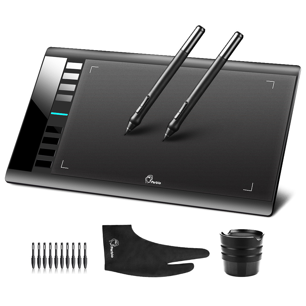 2 Pens + Parblo A610( +10 Extra Nibs) Graphics Drawing Digital Tablet 2048 Level Good as Huion H610 Pro + Anti-fouling Glove