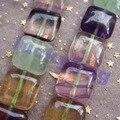 14mm Natural Fluorita Arco Iris Cristal Square Granos Flojos 27 unids/lote al por mayor