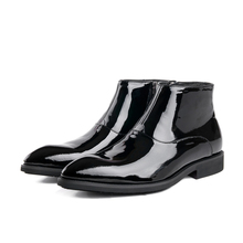 Fashion black shiny dress shoes mens ankle boots patent leather boots mens wedding boots formal shoes