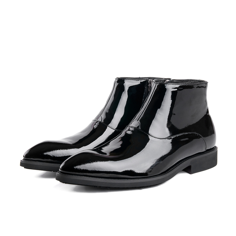 Fashion black shiny dress shoes mens ankle boots patent leather boots mens wedding boots formal
