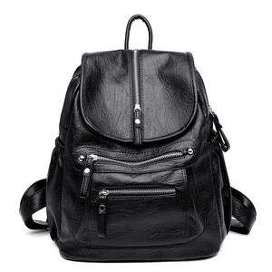 Image 2 - Women Backpack high quality Leather  Fashion school Backpacks Female Feminine Casual Large Capacity Vintage Shoulder Bags
