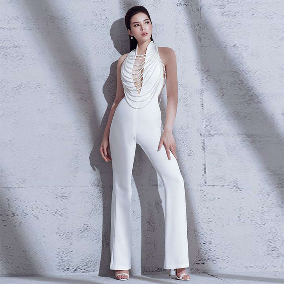 2019 Newest Spring Celebrity Party Women Jumpsuit White Sleeveless Deep V-Neck Beading Boot Cut Sexy Backless Jumpsuit Women