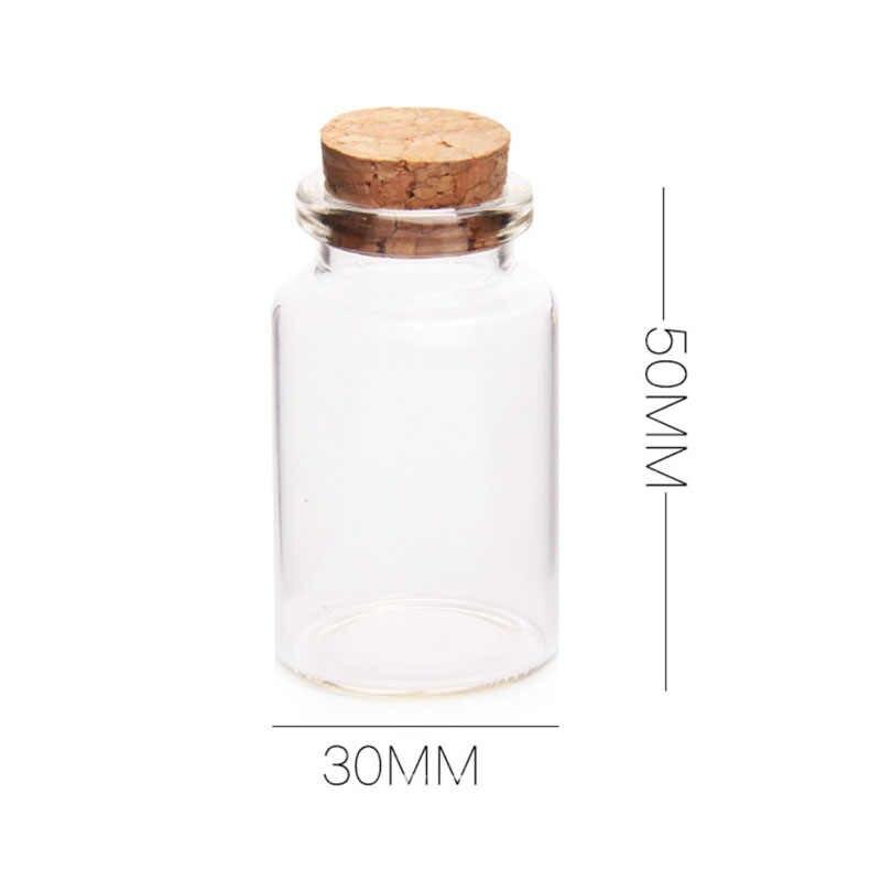 12 ชิ้น/เซ็ต 20ml มินิขวดแก้ว Cork โปร่งใสขวดแก้ว Vials ขวด Sub-ขวด Drifting ขวด 30*50 มม.