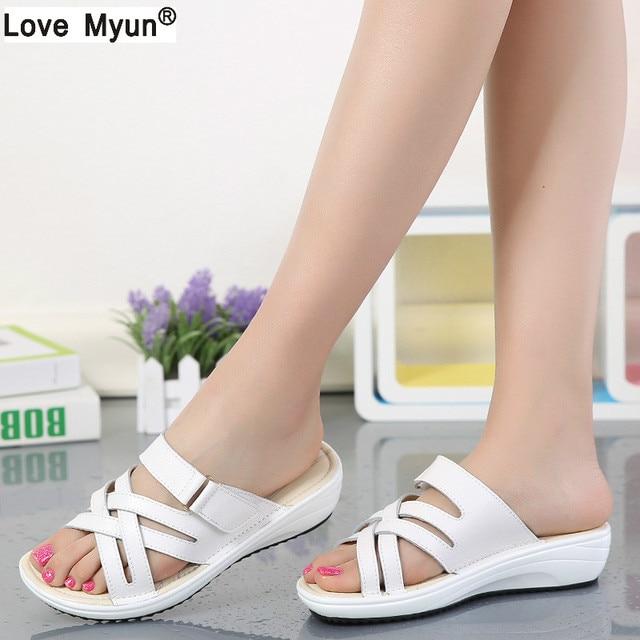4553bb76179 women sandals Shoes Leather flat Sandals Low Heel Wedges Summer women Open  Toe Platform Sandalias ladies gladiator sandals