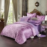 Spring 2016 new luxury bed linen 4pcs European satin jacquard bedding set include duvet cover bed sheet pillowcases.