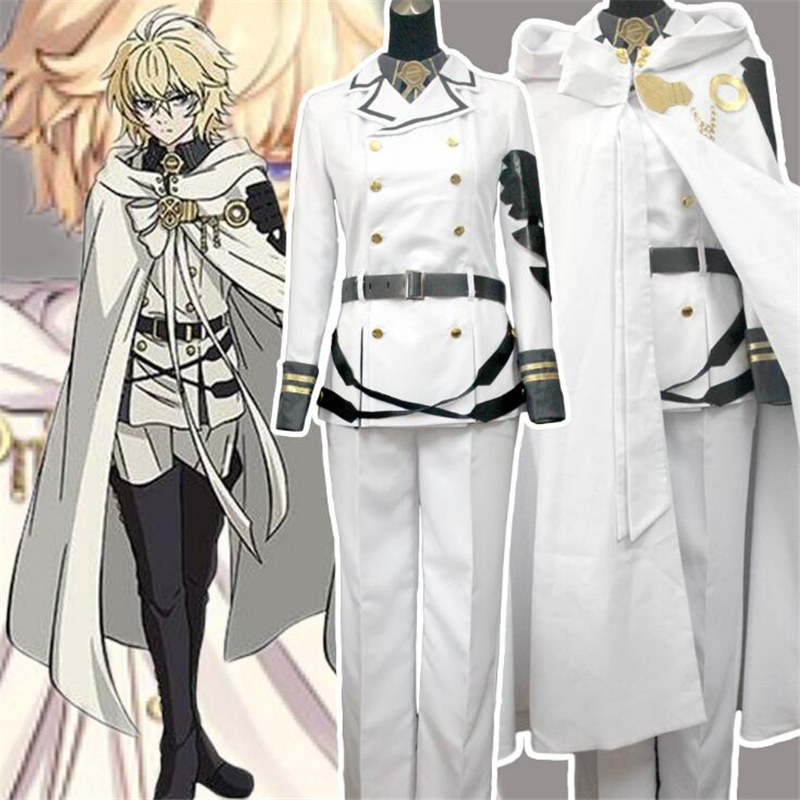 Seraph of the end Mikaela Hyakuya Noble White Knight Suit Cosplay Halloween Party Clothes Adult Costumes Wigs For Women/Men