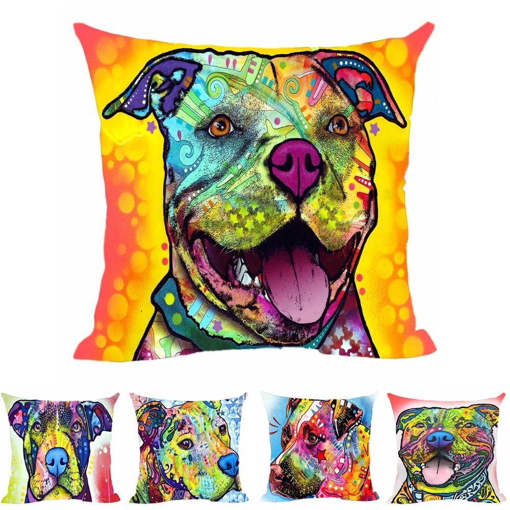 Moda para mascotas perro pitbull funda de almohada fundas de cojines decorativos para coche funda de almohada de silla animal linda para sofá en casa cama de asiento