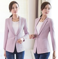 Office Uniform Designs Womens Spring Autumn Blazer Coat Black Purple Red Woman Long Sleeve Blazer Slim Jacket Blazer Mujer 4XL