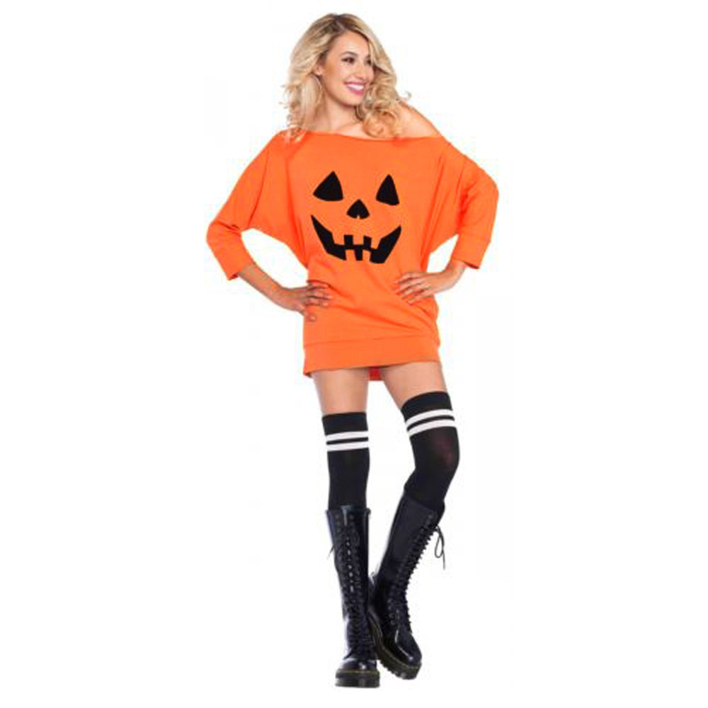fixwomens casual dresses 2017 fashion sexy cold shoulder pumpkin printed costume dress halloween fancy dresses clothing - Cheap Costume For Halloween