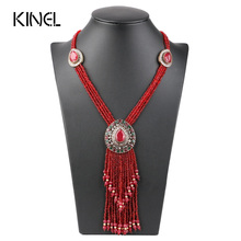 Kinel Turkish Red Crystal Bead Necklaces For Women Gold Color Hand Made Long Pendant Tassel Necklace Vintage Jewelry 2017 New