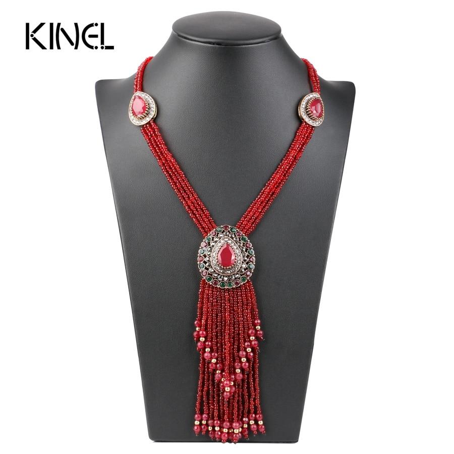 Kinel türk kırmızı kristal boncuk kolye kadınlar için altın renk el yapımı uzun kolye püskül kolye vintage takı 2017 yeni