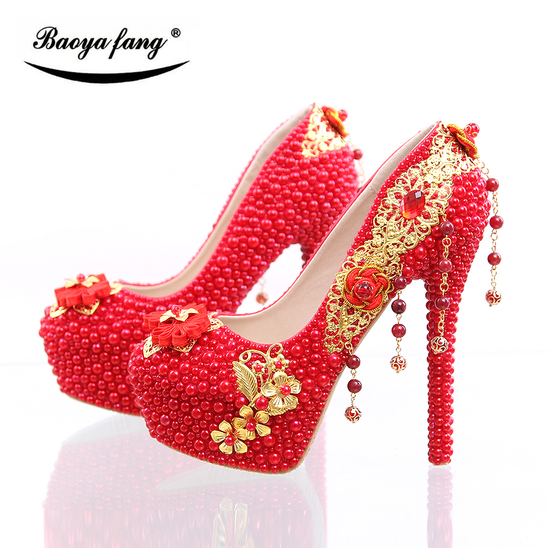 BaoYaFang New arrival Luxury red pearl beads heel shoes womens wedding shoes Bride high heels party shoes Gold tassels Pumps baoyafang red crystal womens wedding shoes with matching bags bride high heels platform shoes and purse sets woman high shoes