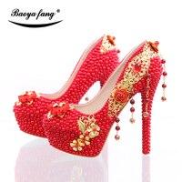 BaoYaFang Nouvelle arrivée De Luxe rouge perle perles talon chaussures femmes chaussures de mariage Mariée haute talons parti chaussures Or glands Pompes