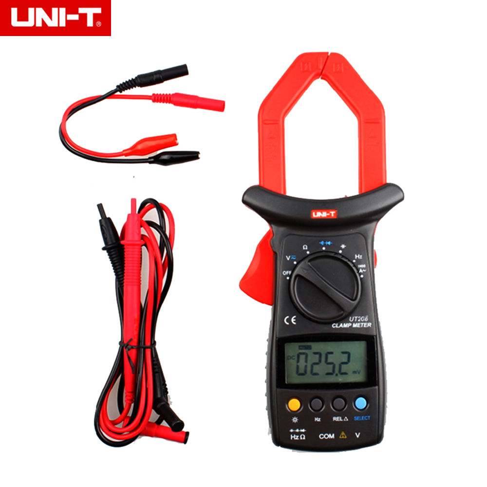 UNI-T UT206 3999 Count Auto Range DMM Digital Clamp Multimeters W/ Temperature Test Multimetro LCR Meter backlight & Tool box цена