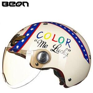 Image 2 - Мотоциклетный шлем BEON с полулицевой поверхностью, винтажный мотоциклетный шлем с открытым лицом, шлем для скутера, велосипедный шлем M L XL
