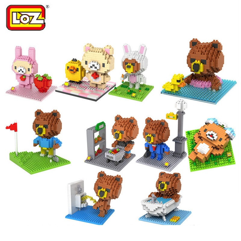 LOZ Brown Bear Blocks Cartoon DIY Building Toys Bear mini blocks Brinquedos Anime Juguete Kids Toys Xmas Gifts for Children 9427 loz super mario kids pencil case building blocks building bricks toys school utensil brinquedos juguetes menino jouet enfant