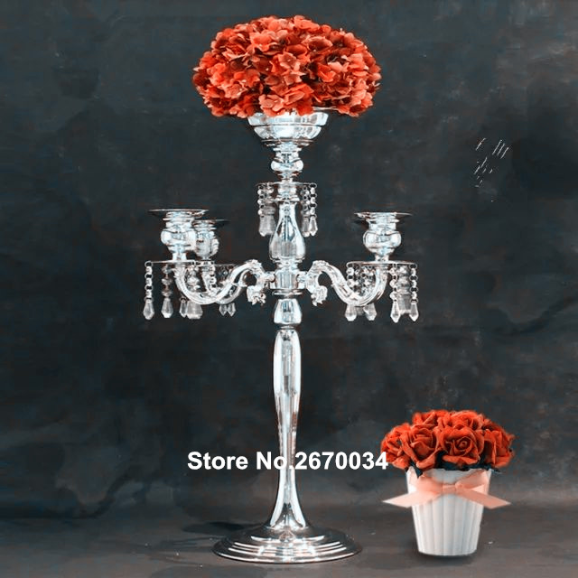 cheap crystal candle holder with pillar for table decoration