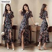 New arrive 2019 fashion v neck flower print high split long dress women slim fit empire waist elegant summer dresses vadim LLQ18