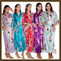 Sexy Ladies Satin Silk Print Long Night dress Gown Sleepwear Babydoll Pajama M--XXL HJWQ09