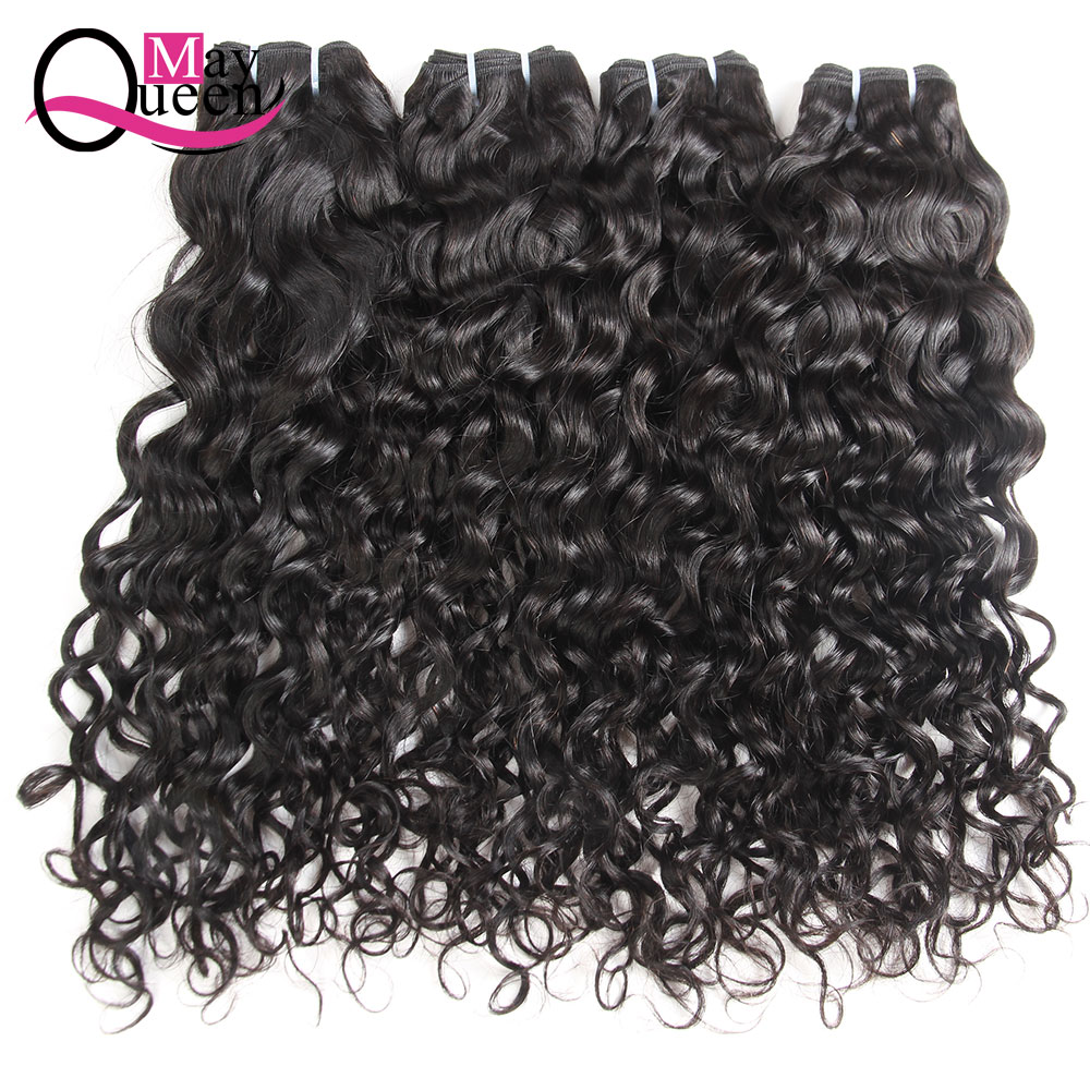 May Queen Hair Indian Water Wave 3&4 Pieces Remy Hair Extensions 100% Human Hair Weave Bundles Natural Black Can Be Dyed