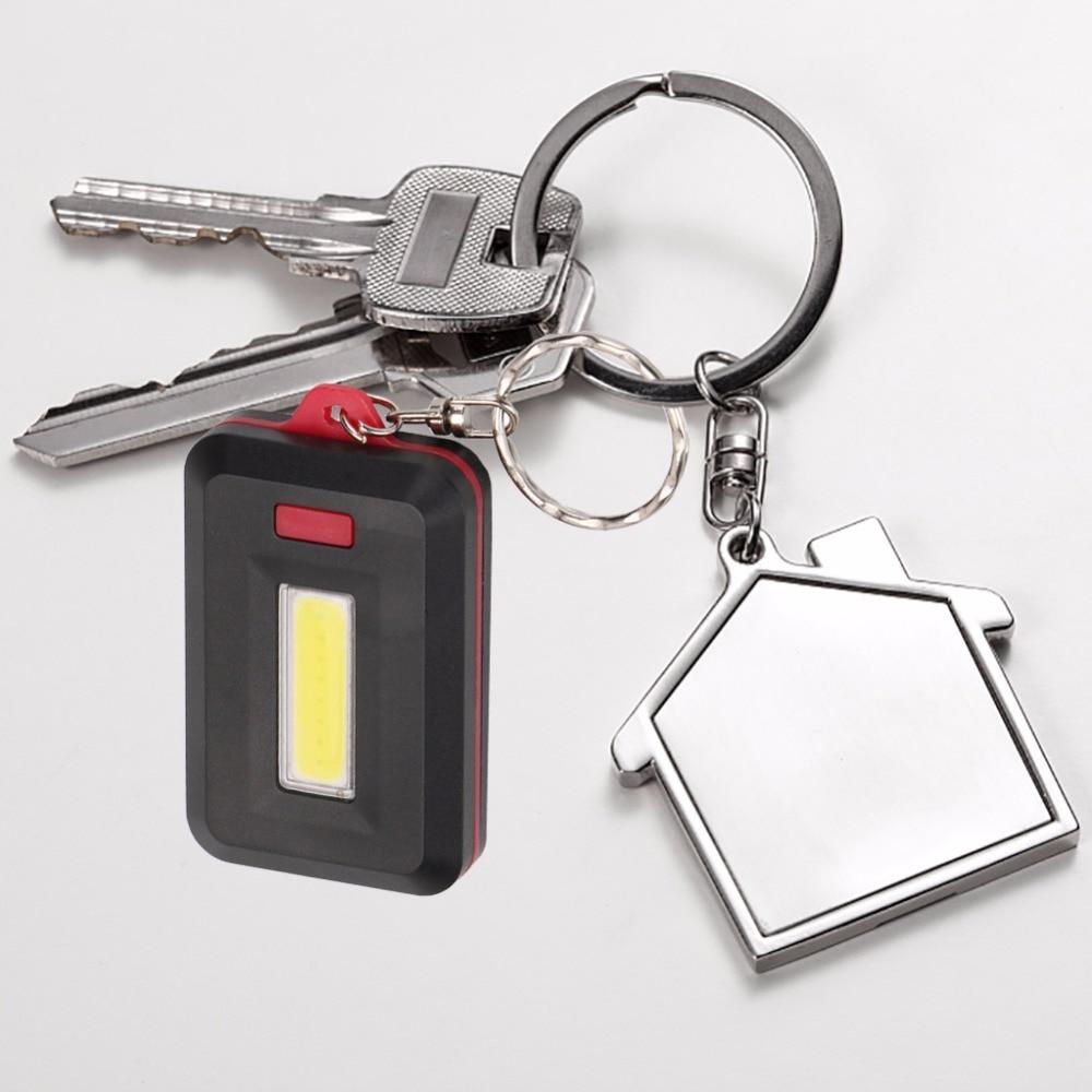Portable COB LED Key Lamp Night Light Keychain Flash Light Keyring Outdoor UK