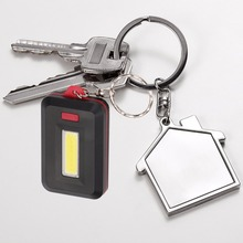 COB LED Mini Keychain Flashlight Lamp Torch LED 3-Modes ON/OFF Mini Torch with Key Ring By 3xAAA for Key Finder Find Lost Keys
