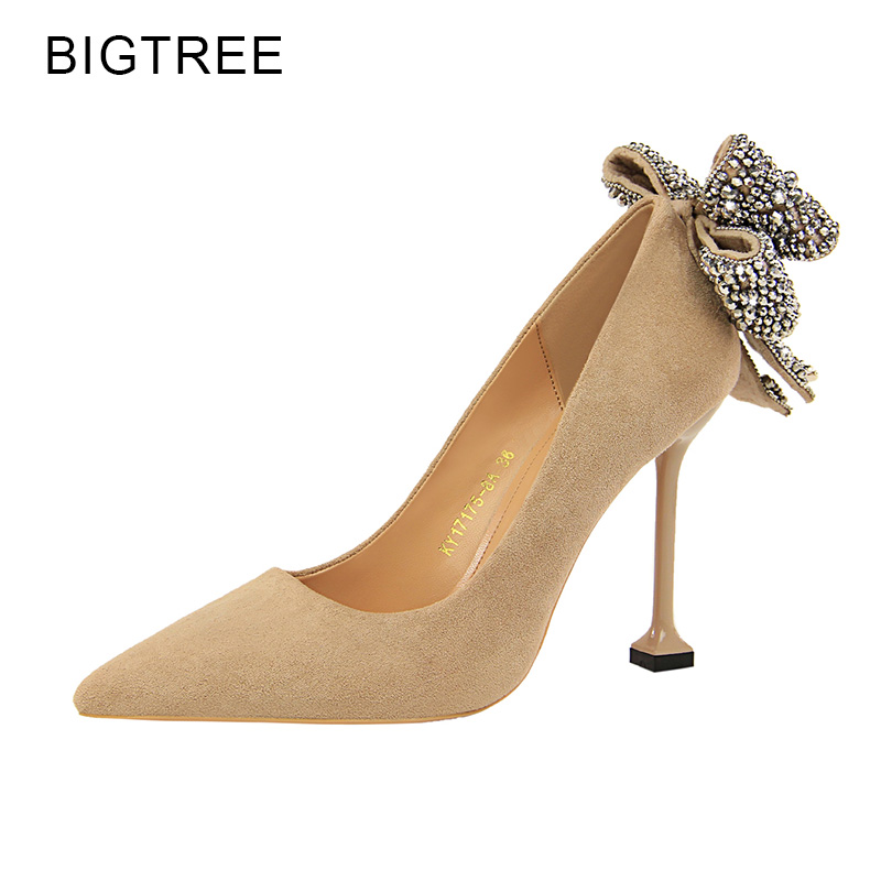 Bigtree High Heels Crystal Butterfly Knot Pink Sweet Shoes Women Red Pointed Toe Sexy Party Thin Heels Female Shoes Size 34 40 bigtree new spring women elegant pumps sweet bowknot high heeled shoes thin pink high heel shoes hollow pointed heels g3168 2