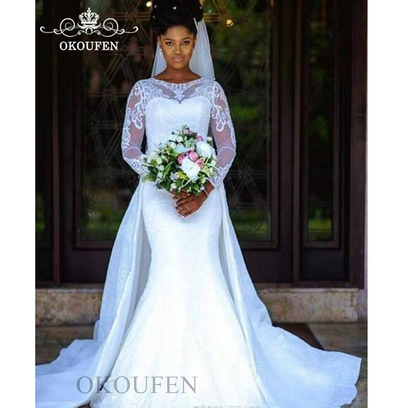 Gorgeous Overskirts Mermaid Wedding Dress In White Sheer Lace 2020 Jewel Neck Nigeria Arabic Women Bridal Dresses Gown