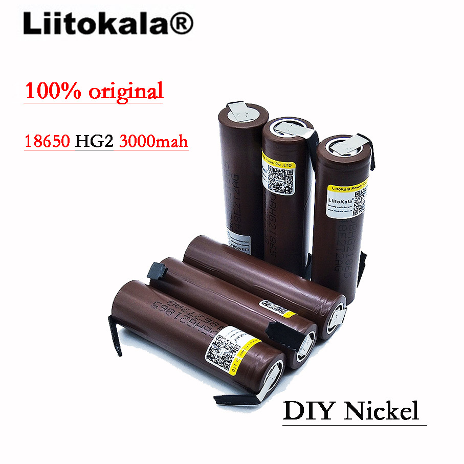 2019 8 pièces 100% d'origine HG2 18650 3000 mAh batterie 18650 HG2 3.6 V décharge 30A, dédié aux e-cigarette batteries + bricolage Nicke