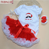 Baby Christmas dress Cartoon Santa Claus & Tree print Rompers+Lace puff skirt+bow hair band three pieces suit girls tutu sets