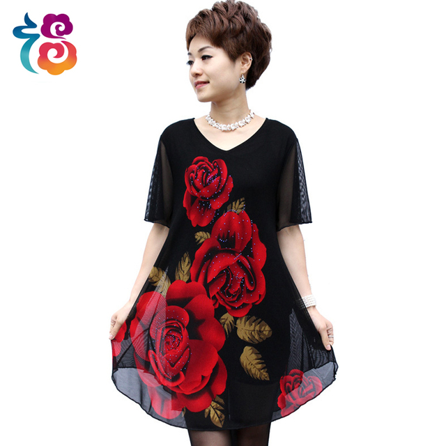 6bfb44c32ffcc Summer dress middle-aged women and clothes 40 to 50 years old fat mother  temperament of women's summer wear chiffon big yards