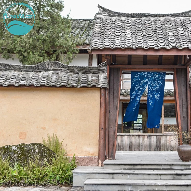 LinenAll original 100% cotton cherry blossom door curtain katazome plant blue dyeing curtain