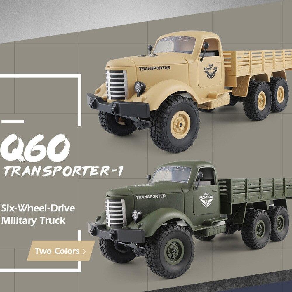 JJRC Q60 RC Voiture 1:16 2.4g Télécommande 6WD Suivis Hors-Route Militaire Camion Voiture RTR Pour Enfants cadeau d'anniversaire