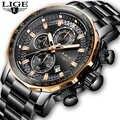 LIGE часы для мужчин Роскошный хронограф из нержавеющей стали с большим циферблатом кварцевые мужские часы повседневные спортивные водонепр...