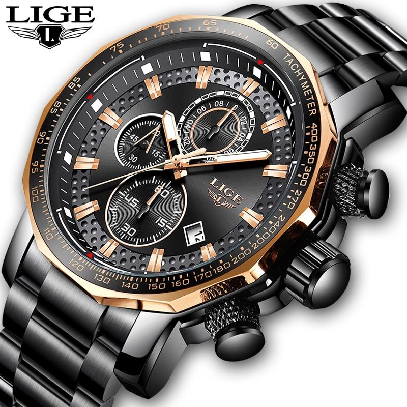 LIGE Relógios Cronógrafo de Aço Inoxidável Dos Homens De Luxo Grandes Homens de Marcação De Quartzo Relógio do Esporte Ocasional Relógio À Prova D' Água Relogio masculino